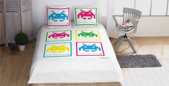 housse couette space invaders geek